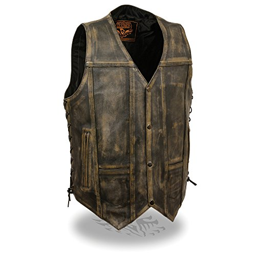 Mens Distressed Leather 10 Pocket Vest Brown (L)