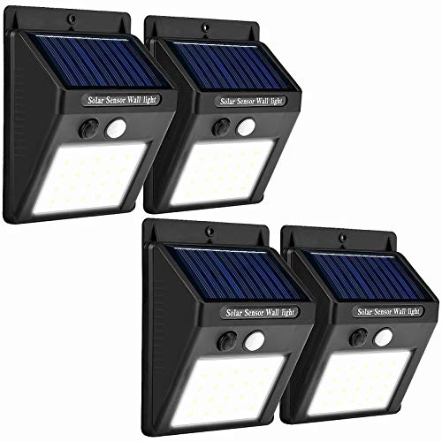 SALB 4 Packs Outdoor Solar LED 400lm Lights 120 Degree Motion Sensor IP65 with Auto ON/Off Outdoor Lights for House/Patio/Garage/Backyard/Porch