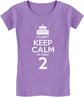 Birthday Cake I Can't Keep Calm I'm Two Cute Toddler/Kids Girls' Fitted T-Shirt