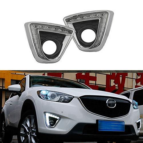 QQKLP Tagfahrlicht Blinker-Relais-Art 12V-Auto-LED Tagfahrlicht Tagfahrlicht mit Nebellampen Loch Fit für Mazda CX-5 Cx5 Cx 5 2012 2013 2014 2016,A Style Silver
