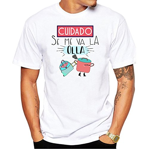 Camiseta Cuidado se me va la Olla. Camiseta Divertida para Despedidas Soltero, Fiestas, ferias, botellon. (L)