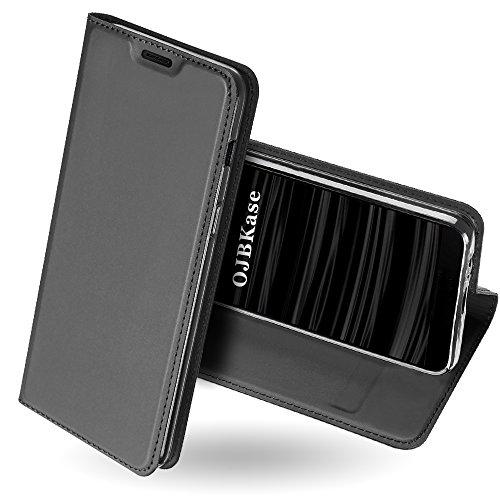 OJBKase Galaxy J6 2018 Hülle, Premium Slim PU Leder Handy Schutzhülle [Standfunktion] Hülle/Cover/Brieftasche/Ledertasche Tasche Lederhülle Handyhülle für Samsung Galaxy J6 2018 (Schwarzgrau)