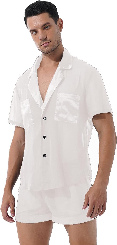 FEESHOW Men Satin Pajamas Suit 2PCS Sleep Set Lingerie Summer Pyjamas Home Clothing Sleepwear