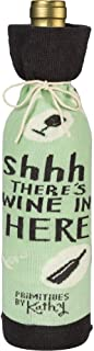 """Primitives by Kathy LOL Made You Smile Reusable Gift Bottle Sock, 3.38"""" x 11.25"""", Shhh… There's Wine in Here"""