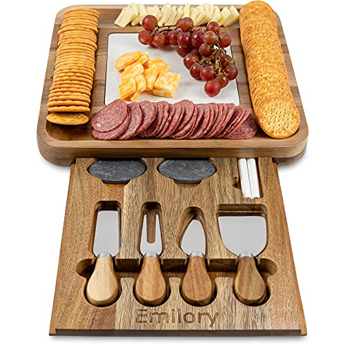 PREMIUM WOOD CHEESE BOARD, Marble Cutting Board, Cheese Knife Set, 4 Knives, Goods Accessories Tray Slides in Cheeseboard