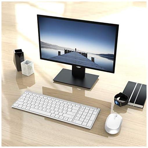 Jelly Comb Juego de ratón y teclado inalámbrico recargable QWERTZ ultra delgado de 2.4Ghz para PC, computadora de… 3