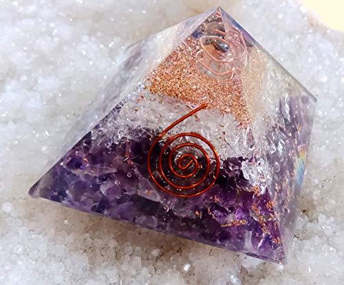 Orgone Pyramid, Energy Generator, Orgone Pyramid for Emf Protection Healing Meditation Orgonite Pyramid Amethyst Stone With Clear Crystal Orgone Energy Pyramid
