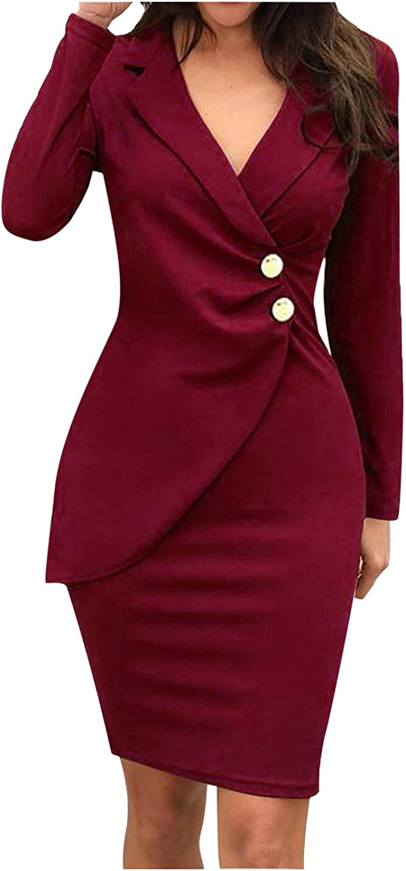 JIANGZHo Work Dresses for Women Office Professional Blazer Dress Sexy V-Neck Bodycon Dress Professional Work Suit
