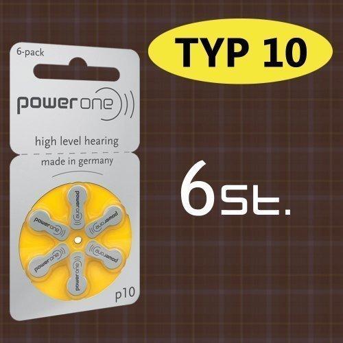 6 stuks batterij PowerOne type p 10 hoorapparaat batterijen (voor hoortoestel: Widex)