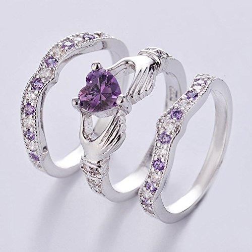 suchadaluckyshop 3PCs Irish Claddagh Celtic Heart Amethyst 925 Silver Wedding Ring Bridal Set New (7)