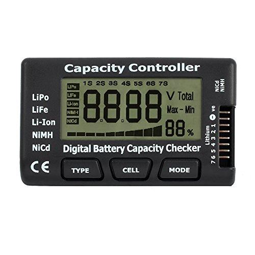 eSynic LCD Akku Kapazität Voltmeter Controller Multifunktional Batteriekapazität Voltmeter Digital Batteriestatus Ladeanzeige Monitor Batteriemessgeräte Tester für LiPo LiFe Li-ion NiCd NiMH- Schwarz