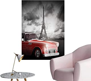 Anzhutwelve Paris Wall Picture Decoration Fancy Vintage Car with Tour Eiffel in Cold Cloudy Day Romantic Theme Retro Style ArtGrey Red W20 xL28 Poster Paper