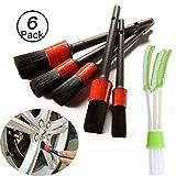 JiaHome-cepillos de Limpieza para Detalles de automóviles(6pack), Pincel Limpieza de Detalles con Tamaños Diferentes parael Interior y Exterior de Coche, Motor, Ventilación de Aire