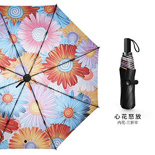 Regenschirm Kleine Frische Sonnenschirm Regen Dual-Use-Sonnenschirm Aus Schwarzem Kunststoff Sonnenschutz Uv Weibliche Figur Taschenschirm Upf50 + @ Üppig - Innere Blume (DREI Falten)