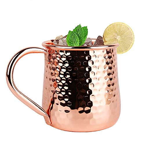 Moscow Mule Copper Mugs - Set of 1, 17Oz Traditional Design Solid Handcrafted Cocktail Copper Cups, Food Safe 100% Authentic Pure Solid Copper Mug Set with Brass Handle (Copper, 1)