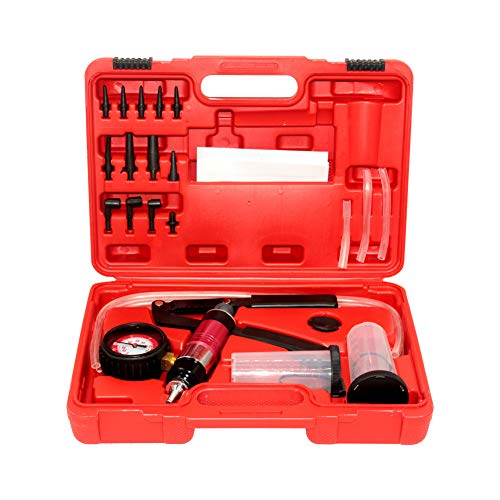 beduan 23pcs Brake Bleeder Kit Hand Held Vacuum Pump Tester, Including 2 Bottles, High Pressure Bleeder for Automotive