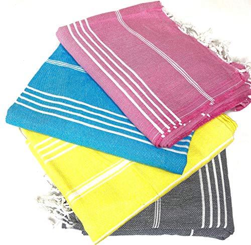 Cottonplant Juego de 4 toallas turcas XL 100% algodón | Playa baño gimnasio, sauna, hammam peshtemal pareo manta