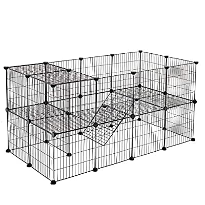 SONGMICS 2-Floor Pet Playpen, Customisable Pet Cage Enclosure, for Small Animals Guinea Pigs by Maxesla