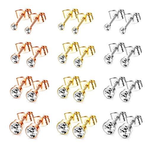 YADOCA 12 Pairs Stud Earrings for Women Girls Cubic Zirconia Stud Earrings Set Small Sleeper Cartilage Tragus Studs Earring Silver Gold Rosegold 3-6mm