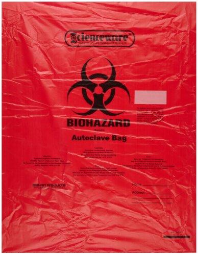 Bel-Art F13165-1923 Polypropyleen 6-9 Gallon Super Sterkte Rode Biohazard Wegwerpzakken met Waarschuwingslabel/Sterilisatie-indicator, 19 W x 23 in. H, 2,0 mil dik (Pack van 200)