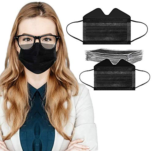 Sanhee 30PC Anti-Fog Face_Mask for Glasses Wearers with Adjustable Nose Wire 3-ply Disposable Breathable Face Bandanas for Teens Adult Best Fog Free Face Protectors Coverings, Black