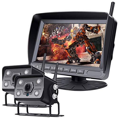 Kit de sistema de cámara de respaldo inalámbrico digital, grabadora de DVR de 7 'Monitor, cámara IP68 IR IR IR VISIÓN DE VISUON Vista posterior, ASISTENCIA DE APARCAMIENTO PARA VEHÍCULO GRANDE
