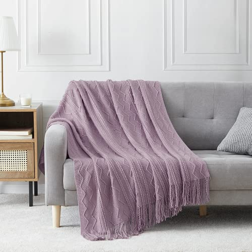 """BOURINA Throw Blanket Textured Solid Soft Sofa Throw Couch Cover Knitted Decorative Blanket, 50""""x60"""" Light Lavender"""