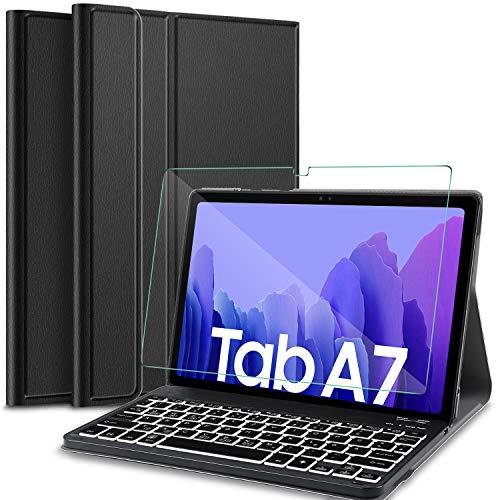 IVSO Kompatibel mit Tastatur Samsung Galaxy Tab A7, mit Panzerglas, [QWERTZ Deutsches], Abnehmbar Beleuchtete Tastatur Hülle Kompatibel mit Samsung Galaxy Tab A7 T505/T500/T507, Schwarz