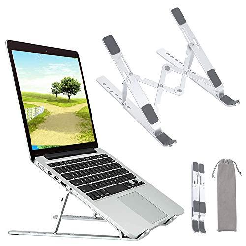TOPmontain Suporte para Laptop, Suporte para Mesa com 6 Níveis de Ajuste, sSuporte para laptop portátil, Suporte dobrável de alumínio, compatível com a maioria dos laptops de 10-15,6 polegadas
