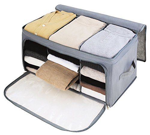 SUNKY - Foldable Storage Bag, Breathable Bamboo Fabric Dustproof Blanket Closet Sweater T-Shirt Organizer Box Charcoal - Grey