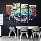 GSDFSD So Crazy Art - Lure In Canvas Set, Pescado Decoracion De Pared 4 Piezas Modernos Mural Fotos para