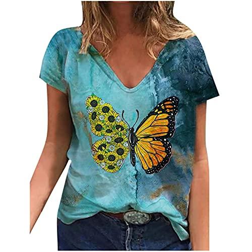 Womens Casual Korte Mouw Tops, Mode Casual Vrouw V-hals Zomer Korte Mouw Vlinder Prints Tops Losse Comfoy T-Shirt Jonge Stijl