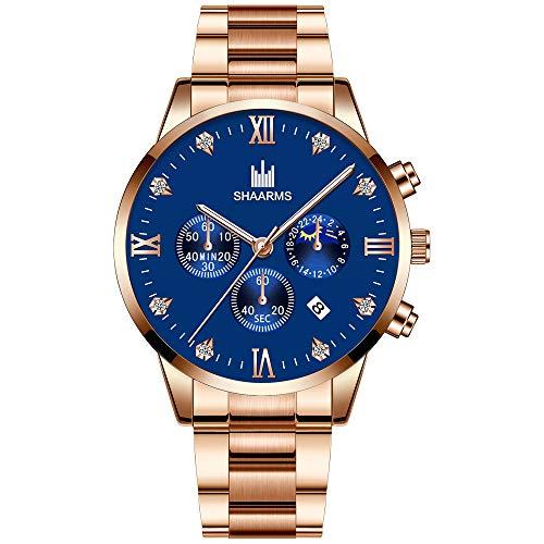 Relojes nuevos para Hombres Relojde Moda para Hombre Relojde Pulsera de Cuarzo analógico Dorado de Acero Inoxidable para Hombre Relojes de Negocios Relogio Masculino