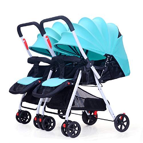 TY-Baby trolley Mmm @ Poussette jumelle de bébé, Chariot Infantile de Renversement léger Pliable démontable de Chariot à Double Nourrisson Chariot ( Color : Bleu )