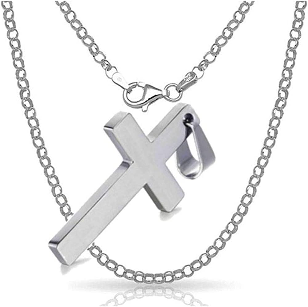 ⸎ SILVER CROSS CHAIN NECKLACE WOMEN MEN free shipping Pure S FOR Colorado Springs Mall