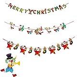 Unique Store 3pcs Guirnaldas Navidad Banderas Banderines Colgantes Decorativas Decoración Feliz Navidad Merry Christmas Muñeco de Nieve Papá Noel Arbol de Navidad (1.9.16)