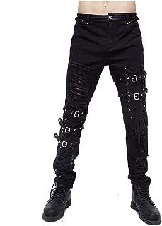 Pantalones Steampunk, Ropa gótica, Jeans Negros Delgados Steampunk