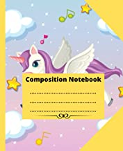 Composition Notebook: Cute pegasus with purple mane flying in the pastel sky background with wide Ruled Composition Notebo...