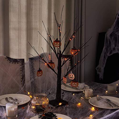 Vanthylit 2FT 24LED Black Spooky Tree Glittered with Orange Lights