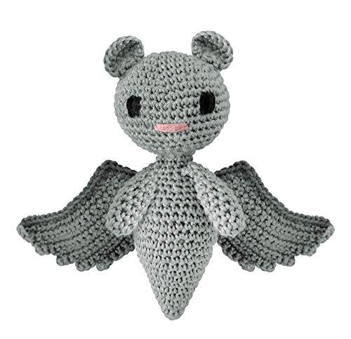 LOOP BABY - Gehäkelte Fledermaus Felix in grau - für Babys und Kinder als Geschenk - Nachhaltige Kuscheltier aus Baumwolle - Babygeschenk zur Geburt oder Taufe - ab 0 Monate