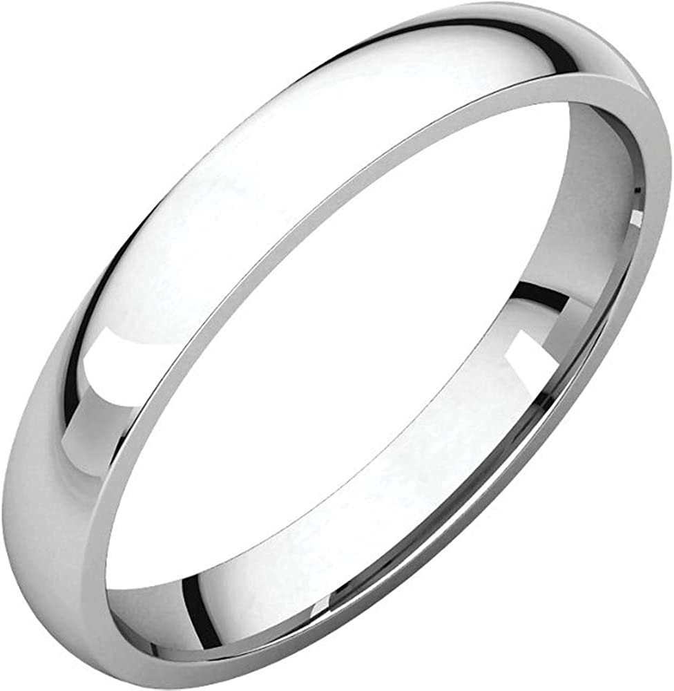 03.00 mm Light Comfort-Fit Wedding Band Ring in 14K White Gold ( Size 10.5 )