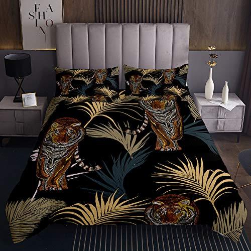 Tiger Wildlife Animals Tagesdecke 220x240cm Gedruckte Blumen Steppdecke für Kinder Jungen Mädchen Softest Bettüberwurf Schwarz Kuscheldecke Bunte Gesteppte Decke Schwarz Ultra weich 3St