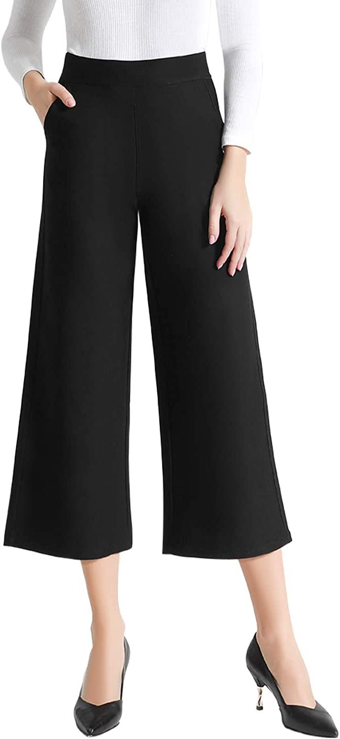 Tsful High Waist Wide Leg Pants for Women Business Casual Crop Dress Pants Stretch Pull On Office Capris Work Fall Clothes