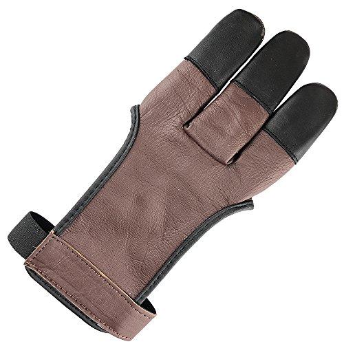 longbowmaker Traditioneller Schießhandschuh 3 Finger Leder Bogenschießen Handschuhe Fingerschutz AG31M