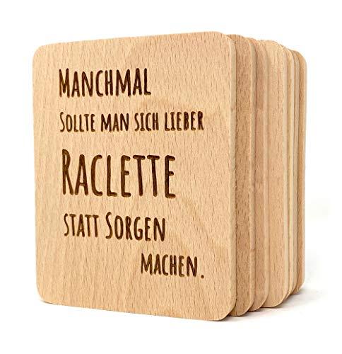 Laser Tattoo Raclette Untersetzer aus Holz - Raclette statt Sorgen - 8 Stück