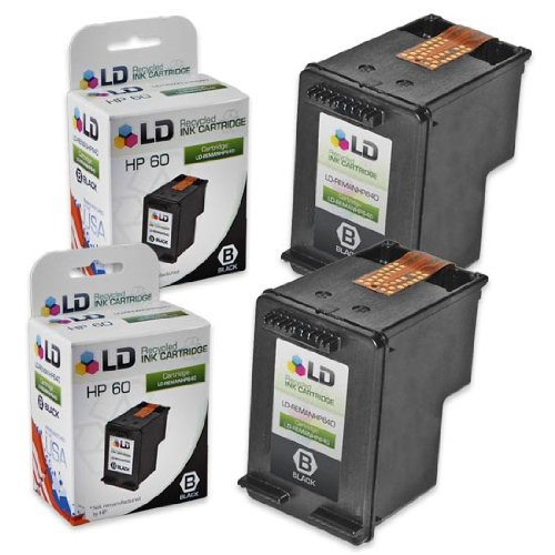 LD Remanufactured Ink Cartridge Replacement for HP 60 CC640WN (Black, 2-Pack)