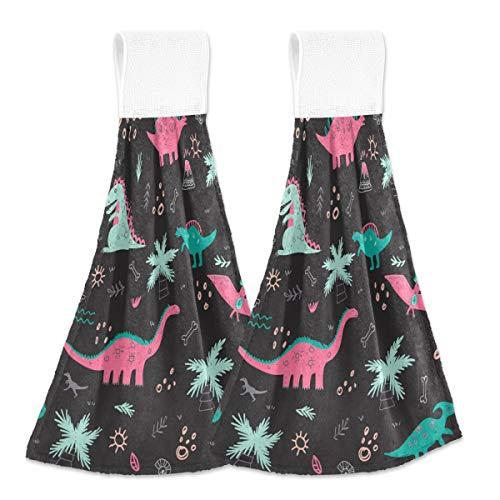MNSRUU Vector - Toalla de mano para cocina, diseño de dinosaurios infantiles, 2 unidades, súper suaves, absorbentes, para casa, baño, granja, mesa de inauguración de casa, 30 x 43 cm