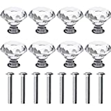 nuoshen 8 Pcs Crystal Drawer Knobs, 30mm Crystal Knobs Diamond Handles Diamond Pull Crystal Door Handles with Screws for Home Kitchen Office Chest Drawer Decorating
