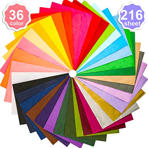 Konsait 216 Sheets 36 Colors Tissue Paper Bulk Gift Wrapping Tissue Paper Decorative Art Rainbow 20 X 28 inch for Art Craft Floral Birthday Party Festival Gift Wrapping Decorative Tissue Paper Pom Pom