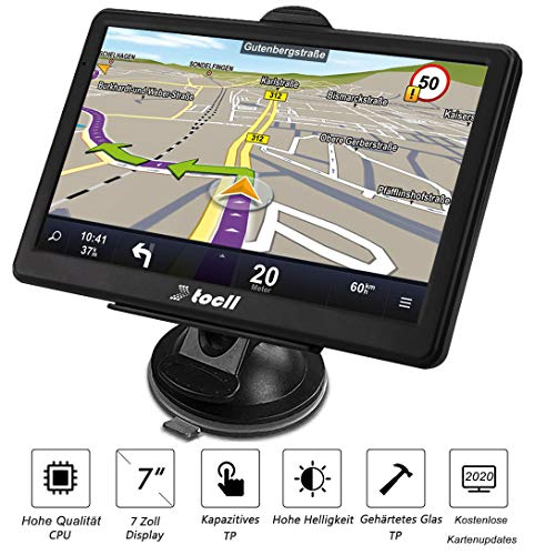 GPS Navigationsgeräte Navigation für Auto 7 Zoll Navi LKW PKW mit Blitzerwarnung Sprachführung Fahrspurassistent tragen 2020 Deutschland usw 49 Europa Karten und Lebenslang Kostenloses Kartenupdate